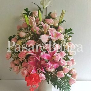 Bunga Meja Mawar Pink